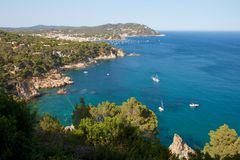 Palafrugell bay. View on a beautiful Mediterranean bay at the Spanish Costa Brava in the Catalonia region close to Barcelona Stock Images