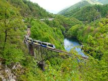 Palagnedra lake and the railway bridge royalty free stock images