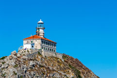 Palagruza Lighthouse. Lighthouse on island Palagrusa, in Adriatic sea. The farthest island in Croatia Stock Photo