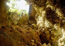 Palaha caves - looking out. Caves in the coral limestone rock that Niue is made up of.  Columns are formed when stalactites and stalagmites join up.  Niue island Royalty Free Stock Image