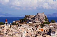 Palaio Frourio dans la ville de Corfou photographie stock libre de droits