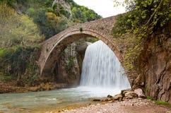 Palaiokarya bridge and waterfall, Thessaly, Greece Stock Images