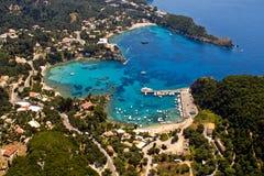 Palaiokastritsa bay aerial. Palaiokastritsa bay in Corfu, Greece, aerial view stock images