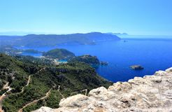 Palaiokastritsa on Corfu island. View from Angelokastro. Ionian Sea, Greece. Palaiokastritsa is a village in northwestern Corfu. Angelokastro Castle of Angelos Royalty Free Stock Photography
