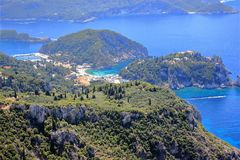 Palaiokastritsa on Corfu island. View from Angelokastro. Ionian Sea, Greece. Palaiokastritsa is a village in northwestern Corfu. Angelokastro Castle of Angelos Stock Image