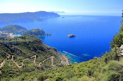 Palaiokastritsa on Corfu island. View from Angelokastro. Ionian Sea, Greece. Palaiokastritsa is a village in northwestern Corfu. Angelokastro Castle of Angelos Stock Photo