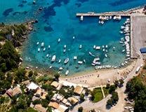Palaiokastritsa port aerial. Palaiokastritsa port in Corfu island, Greece, aerial view stock photography