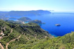 Palaiokastritsa on Corfu island. View from Angelokastro. Ionian Sea, Greece. Palaiokastritsa is a village in northwestern Corfu. Angelokastro Castle of Angelos Stock Photography