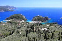 Palaiokastritsa on Corfu island. Ionian Sea, Greece. Palaiokastritsa is a village in northwestern Corfu. Corfu has been suggested to be the mythical island of Royalty Free Stock Photography