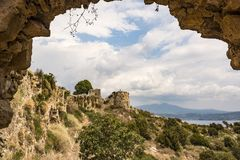 Palaiokastro castle of ancient Pylos. Greece royalty free stock image