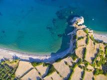 Palaiopoli strand, Kythira Arkivfoton