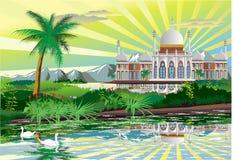 Palais arabe sur le rivage d'un beau lac avec des cygnes Photographie stock libre de droits