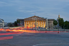 The Palais Bourbon at night, Paris, France Royalty Free Stock Image