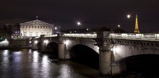 Palais Bourbon and Pont de la Concorde in Paris. Royalty Free Stock Photo