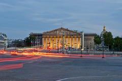 Palais Bourbon przy nocą, Paryż, Francja obraz royalty free