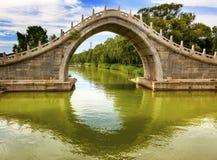 Palais d'été de réflexion de pont en porte de lune Pékin Chine image libre de droits