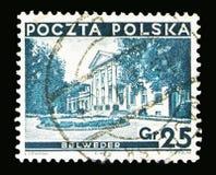 Palais de belvédère à Varsovie, vues dans le serie de la Pologne, vers 1937 image libre de droits