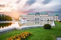 Palais de belvédère au coucher du soleil à Vienne, Autriche photographie stock libre de droits