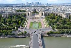 Palais DE Chaillot mening, van de Toren van Eiffel stock afbeeldingen