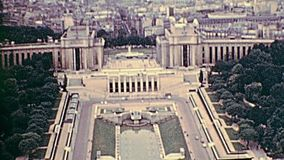 Eiffel Tower 1970s aerial view. Palais de Chaillot palace in the 70s with Jardins du Trocadero from Paris Eiffel Tower. Aerial view panorama of Paris. Historic stock video footage