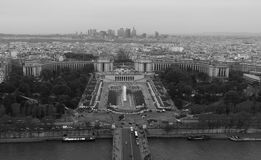 Palais de Chaillot and Paris Skyline, BW Stock Photos