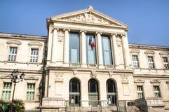 Palais de Justice在尼斯,法国的门面 免版税库存图片