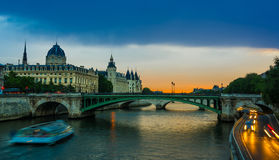 Palais de Justice, night view over the Seine Royalty Free Stock Photography