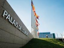 Palais De L ` Europe rada europy połówki masztu flaga afte rUK att Obraz Stock