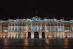 Palais de l'hiver la nuit, Russie Photos libres de droits