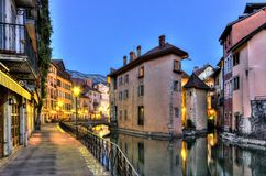 Palais de l'Ile jail and canal in Annecy old city Stock Image