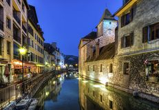 Palais de l'Ile jail and canal in Annecy old city Royalty Free Stock Image
