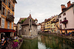 Palais de l'isle, beautiful town square. Annecy is known to be c Royalty Free Stock Photo