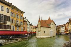 Palais de l`Isle castle on Thiou river in Annecy, Savoy, France Stock Photo