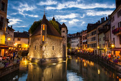 Palais de l'isle by night in Annecy Stock Photography