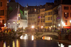 Palais de l'isle by night in Annecy - France Royalty Free Stock Photos