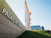 Palais de l rUK ATT del afte della bandiera dell'albero del Consiglio d'Europa di Europa del ` mezzo immagini stock