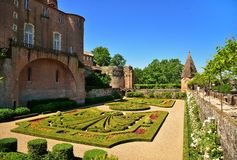 Palais de la Berbie and french gardens, Albi. France Royalty Free Stock Image