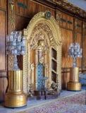 Palais de Manial de prince Mohammed Ali Créneau fleuri d'or sur le mur décoré en bois, résidence de mère du ` s de prince, le Cai photo libre de droits