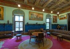 Palais de Manial de prince Mohammed Ali Salon au bâtiment de résidence avec les carreaux de céramique bleus floraux turcs, le Cai photographie stock