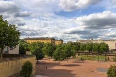 Palais de Rättvisa och promenad, Metz, Lorraine, Frankrike Arkivbild