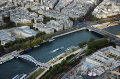 Palais de Tokyo building. Aerial view north over the River Seine with Palais de Tokyo beyond stock image