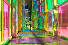 Palais des congres de Montreal. MONTREAL, CANADA - AUGUST 20th 2014: The colourful stained glass Palais des congres de Montreal, a covention and exhibition stock photos