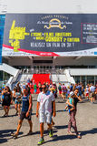 Palais des Festivals et des Congres in Cannes. Cannes, France - August 05, 2016: Palais des Festivals et des Congres with unidentified people. It is a convention stock photo