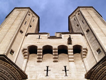 Palais des Papes. (The Pope's Palace) in Avignon ( France) - unesco world heritage site; Towers above entrance Stock Image