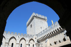 The Palais des Papes in Avignon, France. UNESCO World Heritage Site courtyard of The Palais des Papes (Papal Palace) in Avignon, France royalty free stock images