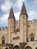 Palais des Papes, Avignon, France. Famous towers of Palais des Papes - symbol of Avignon, over a blue sky Royalty Free Stock Photography