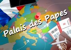 Palais des Papes city travel and tourism destination concept. Fr. Ance flag and Palais des Papes city on map. France travel concept map background. Tickets stock illustration