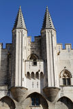 The Palais des Papes twin towers Stock Photo