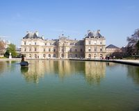 Palais du Luxembourg. Pool in front of the Palais du Luxembourg, Paris, France Royalty Free Stock Image