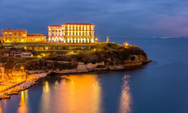 Palais du Pharo a Marsiglia di notte Immagini Stock